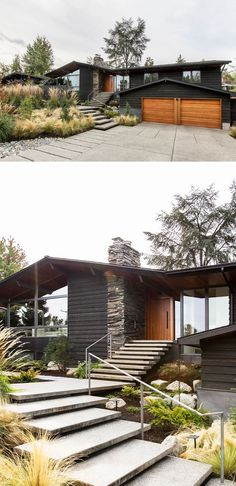 Before & After – The Madison Park Ranch House by SHED Architecture & Design This renovated house has large concrete steps surrounded by landscaping lead up to the front door beside the stone fireplace chimney. Architecture Design, Landscape Architecture, Landscape Design, House Landscape, Garden Design, Style At Home, Concrete Steps, Concrete Design, Exterior Front Doors