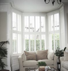Shutters are made to measure to fit bay windows, square bay, L shaped, bow or a splayed bay window exactly with tier on tier or full height or cafe style shutters.