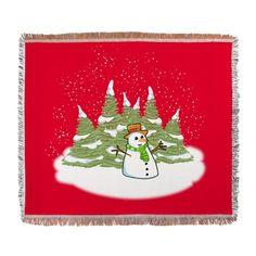 Frosty Snowman Snow Throw Blanket on CafePress.com