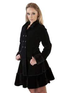 Burleska - Dark Coat - Gothic Lolita Samt Mantel mit Kunstfell