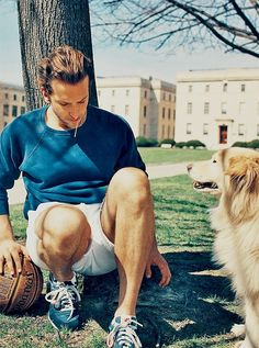 Bradley Cooper with his doggie he rescued! My perfect man :).So, can I play bball and walk his dog with him? Bradley Cooper, Colin Firth, Brat Pitt, Max Riemelt, Pretty People, Beautiful People, Bon Film, My Sun And Stars, Man And Dog