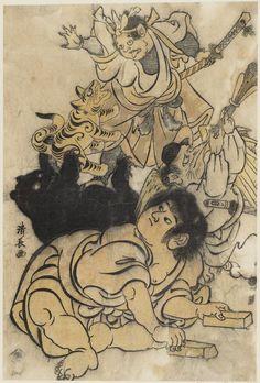 Kintaro playing theater with a demon, bear, and tengu, ca. 1805 by Torii Kiyonaga
