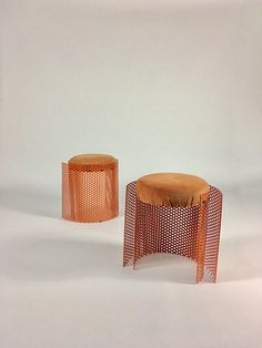 D e s c r i p t i o n Fabulous pair of bespoke steel and upholstery stools crafted by a student of the celebrated Cranbrook Academy of Art in Bloomfield Hills, Michigan and executed in the mid 1980s. Steel frames are painted in a vivid orange enamel with a tonal shade of coral like orange micro suede upholstery. There are no makers marks or signature present. Stools were sourced from the estate of a noted art collector in the area. D i m e n s i o n s 20 h | 19 w | 15 d C o n d i t i o n…