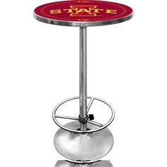 Trademark Ncaa Iowa State University 42 inch Pub Table, Chrome, Clear