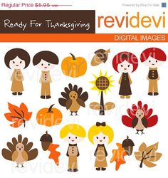 55 OFF Thanksgiving Clipart  Ready for Thanksgiving by revidevi