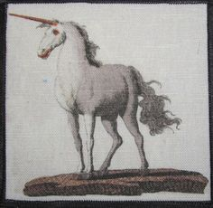 Items similar to Printed Sew On Patch - UNICORN - Febelwesen - Fable Creatures - Friedrich Bertuch - on Etsy Friedrich, Sew On Patches, Mythical Creatures, Cotton Canvas, Moose Art, Dragon, Horses, Sewing, Couture
