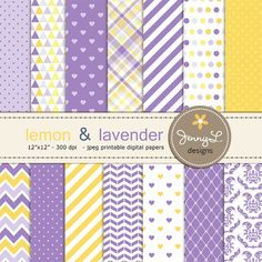Lavender and Yellow Digital Papers, Lilac, Lemon Yellow Violet Party Theme Birthday Digital Scrapbooking Paper, Baby Shower,