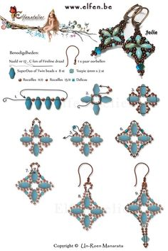 FREE Tutorial for Earrings JOLIE made with Superduo or Twin beads and Swarovski Crystals. Use: 8 SuperDuo or Twin beads, 2 bicone beads seed beads Delica (tube)seed beads Seed Bead Jewelry, Bead Jewellery, Seed Bead Earrings, Diy Earrings, Seed Beads, Pearl Jewelry, Crystal Jewelry, Diamond Jewelry, Antique Jewelry