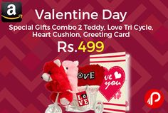 Amazon #LightningDeal is offering 75% off on TiedRibbons® Valentine Day Special Gifts Combo 2 Teddy, Love Tri Cycle, Heart Cushion, Greeting Card at Rs.499 Only. The romancing teddy set is a product of registered brand Tied Ribbons, Huggable and loveable for someone special, Contents: 2 teddy + 1 love tri cycle + 1 keychain + 1 greeting card + 1 Heart.  http://www.paisebachaoindia.com/valentine-day-special-gifts-combo-2-teddy-love-tri-cycle-heart-cushion-greeting-card-at-rs-499-amazon/