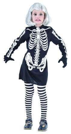 Disfraz de esqueleto para niña, ideal para Halloween. Disponible en www.vegaoo.es