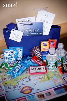 Wedding Gifts For Guests Hotel welcome bags for all guests (need to include some adult beverages though! Wedding Hotel Bags, Wedding Guest Bags, Wedding Gifts For Guests, Wedding Favors Cheap, Beach Wedding Favors, Wedding Day, Cruise Wedding, Wedding Souvenir, Nautical Wedding