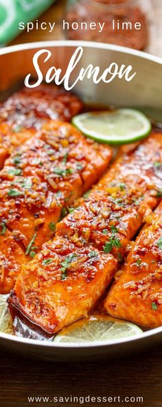 Spicy Honey Glazed Salmon Recipe - easy and quick, this flavorful salmon is seasoned with a spicy dry sriracha blend then sautéed in a honey-lime garlic sauce. #savingroomfordessert #salmon #spicy #easydinner #honeyglazedsalmon #salmondinner #seafood #fish Easy Salmon Recipes, Spicy Recipes, Fish Recipes, Cooking Recipes, Healthy Recipes, Cooking Games, Cooking Classes, Sriracha Recipes, Gourmet Cooking