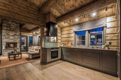 Galleribilde Cabin Homes, Cottage Homes, Log Homes, Rustic Bedroom Furniture Sets, Timber Cabin, Lake House Plans, Kitchen Corner, Cabin Interiors, Wooden House