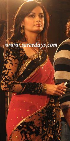 diya mirza in beautiful pink and black saree