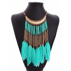 Choies Golden Boho Beaded Faux Feather Tassel Chain Necklace ($8.99) ❤ liked on Polyvore featuring jewelry, necklaces, gold, golden necklace, chain necklaces, gold feather necklace, fake gold necklace and bead chain necklace