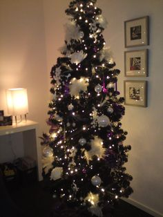 Black Christmas Tree With Purple And White Decorations. And This Is My Own  Creation.