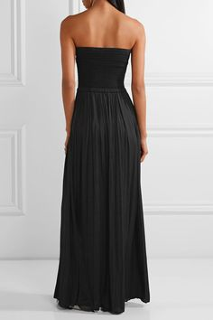 Elizabeth and James - Emmaline Ribbed-knit And Crepe De Chine Maxi Dress - Black - medium