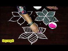 Beautiful flower rangoli designs || kolam designs with colors || muggulu designs with dots - YouTube