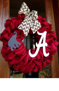 Alabama Football Burlap Wreath, Roll Tide, Game Day, SEC, Fall Wreath, Door Decor, Chevron, College Football on Etsy, $75.00
