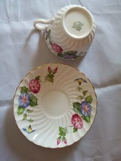 Vintage Aynsley English Bone China Swirl Morning Glory Pattern Tea Cup and Saucer
