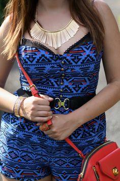 Fringe necklace, romper, crossbody bag, lia sophia jewels