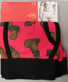 Mossimo Boxer Briefs XL 40 42 Pink Low Rise NEW Pineapples Black #Mossimo #BoxerBrief