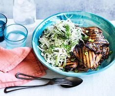 Chicken teriyaki with wasabi slaw recipe - Preheat oven to Whisk soy, sake, sugar, vinegar, garlic and ginger in a bowl until sugar dissolves. Miso Eggplant, Eggplant Chips, Barbecue Chicken, Teriyaki Chicken, Slaw Recipes, Chicken Recipes, Recipe Chicken, Barbecued Lamb, Chicken Katsu Curry