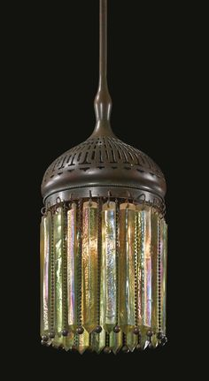 "Morrish ""Prism"" Lantern, Tiffany Studios, Favrile glass and patinated bronze, Tiffany Stained Glass, Stained Glass Lamps, Tiffany Glass, Mosaic Glass, Glass Art, Antique Lamps, Antique Lighting, Vintage Lamps, Vintage Clocks"
