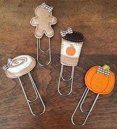 Pumpkin Spice Latte, Pumpkin, Gingerbread Girl & Cinnamon Roll w/ Bows Felt Jumbo / Extra Large Clips • Coffee • Cappuccino