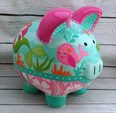 Mermaid Ocean Personalized Piggy bank in Hot Pink and Turquoise Personalized Piggy Bank, Personalized Gifts, The Little Couple, Piggly Wiggly, Patriotic Decorations, Hand Painted Ceramics, Custom Items, Painting On Wood, Cute Piggies