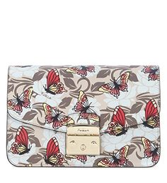 b780e7e4b3ec1 Furla Women's Furla Metropolis Shoulder Vanilla Leather Bag With  Butterflies Multicolour Wristlets, Furla, Wanilia
