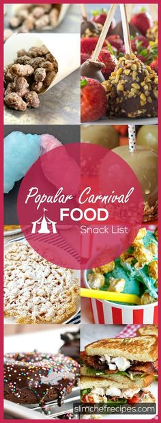 Popular carnival food favorites include treats like funnel cakes, cotton candy, caramel apples and churros. See our list of the best homemade recipes. Carnival Eats Recipes, Carnival Snacks, Snack Recipes, Best Potluck Dishes, State Fair Food, Food Truck Festival, Reception Food, Food Now