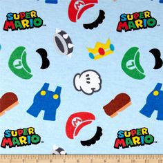 Nintendo Super Mario World Flannel Clothes Icons Multi from @fabricdotcom  Licensed by Nintendo to Springs Creative Products, this cotton print is perfect for quilting, apparel and home décor accents. Colors include black, grey, brown, green, red, blue, yellow and white. This is a licensed fabric and not for commercial use.