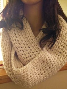 Crocheted Infinity scarf Beige. (can be made in most colors). 30.00 https://www.facebook.com/dawnsfashionaccessories
