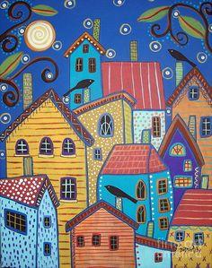 karla gerard artist | Village Birds Painting - Village Birds Fine Art Print