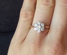 Floral Diamond Engagement Ring, Diamond Flower, Flower Ring, Gold Diamond Cluster Ring  ……………………………………………………………….  {Diamond}  Treasured since ancient