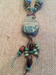 Organic Earthy Teal Drop Pendant Czech Glass Copper Necklace