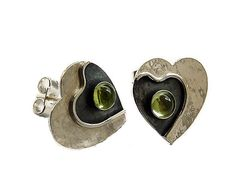 Sterling Silver Heart Post Earrings with Peridot by Kailajewellery, £38.00
