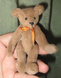 "Minature  Jointed Brown Teddy Bear  3 1/2"" tall   Dolls & Bears, Dollhouse Miniatures, Artist Offerings   eBay!"