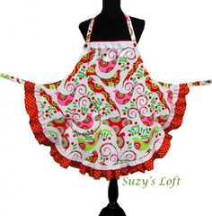 Apron, Aprons —  HOLIDAY HOSTESS APRON with Festive Christmas Birds, Hot Pink, Red, Berries, Greens Polka dot Ruffles Red Piping, Eyelet Lace, Buttons — Size Medium to Large One-of-a-Kind Delightfully Handmade by SuzysLoft for $39.95