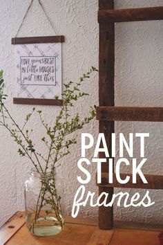 Monday's craft for our mom's meeting was simple but well-liked. Using some paint sticks we had leftover f Monday's craft for our mom's meeting was simple but well-liked. Using some paint sticks we had leftover from a previous craft , we were abl. Paint Stir Sticks, Painted Sticks, Hanging Frames, Frames On Wall, Frames Decor, Frames Ideas, Wall Decor, Wall Art, Paint Stick Crafts
