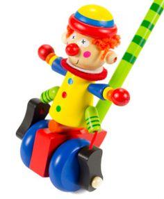 IMP-EX Drevená hračka na tlačenie - Klaun s modrými kolieskami - Najhracky. Wood Toys, Lettering, Wooden Toys, Letters, Texting, Calligraphy, Brush Lettering
