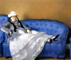 Madame Manet on a Blue Sofa - Edouard Manet