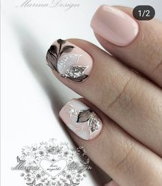 The Best Wedding Nails 2019 Trends ❤ wedding nails 2019 nude black grey flowers leaves nail_marina_disign Classy Nails, Stylish Nails, Gorgeous Nails, Pretty Nails, Nagellack Design, Bride Nails, Floral Nail Art, Manicure E Pedicure, Nagel Gel