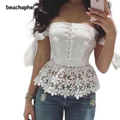 Slash Neck Off Shoulder White Lace Blouse Hollow Elegant Women's Blouse Sexy Tops Women Slim Lace Blouses Female Blusas Kimono Casual Outfits, Cute Outfits, Women's Summer Fashion, Blouse Designs, African Fashion, White Lace, Spring Outfits, Ideias Fashion, Fashion Dresses