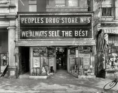 """Washington, D.C., circa 1920. """"People's Drug Store No. 5, 804 8th Street N.E."""" If you're not lured in by the abdominal trusses, cigars, """"The Velvet Kind"""" ice cream, or Hypo-Cod, there's always the photoplay next door -- """"Blazing the (Something)."""""""
