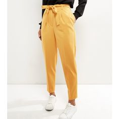New Look Yellow Tie Waist Tapered Trousers ($31) ❤ liked on Polyvore featuring pants, lemon, white trousers, yellow trousers, tapered trousers, white pants and tie waist trousers