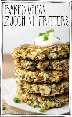 Baked Vegan Zucchini Fritters! I love this whole food plant based recipe. You can serve it for bruch lunch dinner or even as a snack! #itdoesnttastelikechicken