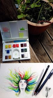#ElementEdenArtSearch Sketchbook - She thought she was a rainbow - Graphite and Watercolour