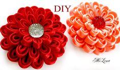 Воздушный цветок канзаши / МК / Простые канзаши / DIY Kanzashi flower